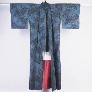 大島紬 藍染め 一元式5マルキ 裄丈67.5�