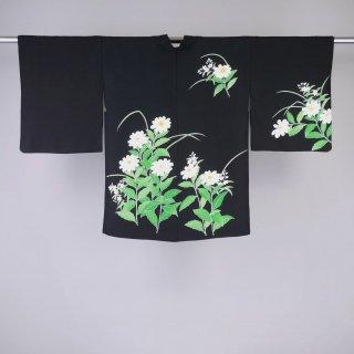黒絵羽織 白い花 裄丈63�