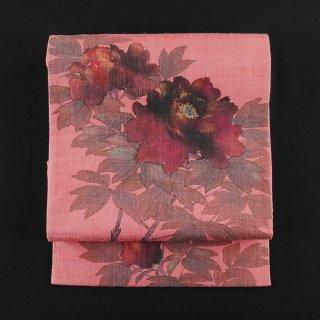 袋帯 牡丹 紬 作家もの 新古品