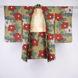 アンティーク羽織 椿 綿素材 裄丈62�