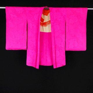 アンティーク羽織 鮮やかなつつじ色 バラの地紋入り 裄丈64cm