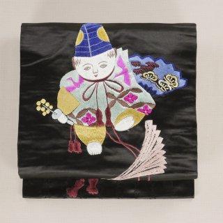 アンティーク帯 名古屋帯 童子 刺繍 黒繻子帯