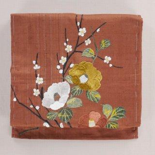 アンティーク帯 名古屋帯 白梅に椿 紬 刺繍