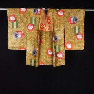 銘仙 アンティーク羽織 赤い花 裄丈63�