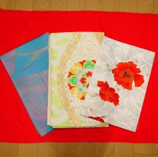 【ワケあり商品】 3本セット 袋帯、名古屋帯、夏帯(松葉仕立)(返品不可)