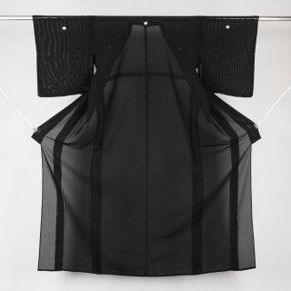 黒紋付 夏喪服 絽 襦袢付き 阿波正藍証紙付き 裄丈66�