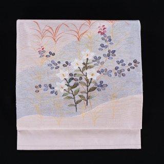 袋帯 秋の草花(桔梗、萩、ススキ)
