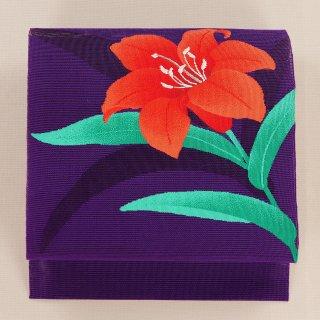 夏帯 松葉仕立 赤い花 お太鼓柄
