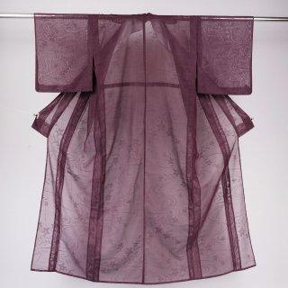 単衣 紋紗 流水に桔梗 化繊 裄丈62.5�