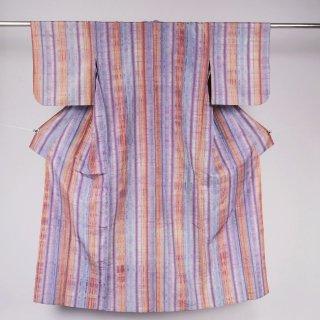 単衣 絣 タテ縞 裄丈63�
