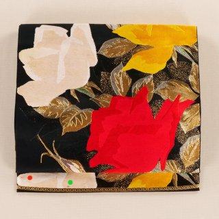 アンティーク帯 バラ 袋帯 六通柄