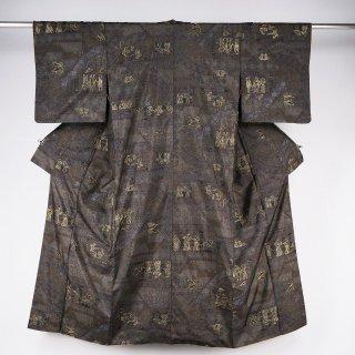 小紋 エジプト文様の金刺繍 裄丈63.5�