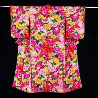 アンティーク着物 牡丹 菊 裄丈63�