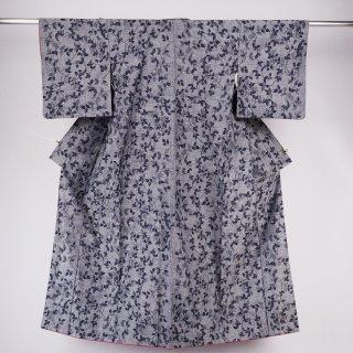 紬 絣織り 枝葉 裄丈65�