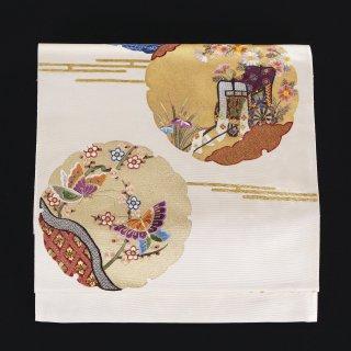袋帯 雪輪 御所車 蘇州刺繍
