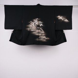 黒絵羽織 光悦垣 紅葉 萩 美品 裄丈64.5�