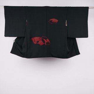 黒絵羽織 扇面 相良刺繍 裄丈64.5�