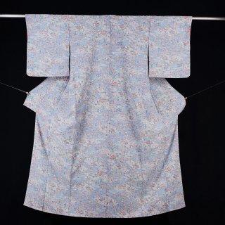 小紋 茶屋辻 「紙人形印」誂製 化繊 裄丈65.5�