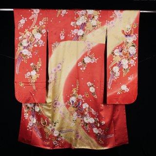 振袖 辻が花模様 金駒刺繍 裄丈70.5�