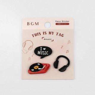 BGM 刺繍ステッカー「 マイタグ・音楽 」