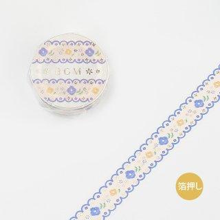 """マスキングテープ ライフ""""箔押し""""「刺しゅう・ブルー」 15mm*5m"""