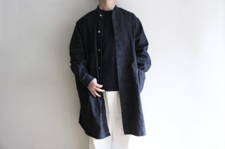 SIDE POCKET LONG SHIRTS-RIP STOP DENIM(NAVY)