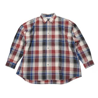 REGULAR WIDE SHIRTS-OXFORD CHECK(RED)
