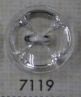 クリアーボタン 二つ穴 透明 7119