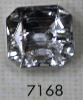 クリアーボタン 二つ穴 シルバー 7168