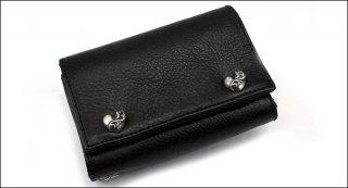 クロムハーツ 財布(Chrome Hearts)3フォールド ハートボタン ブラック ヘビーレザーウォレット【クロム・ハーツ】【クロムハーツ財布】【名古屋】