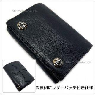 クロムハーツ 財布(Chrome Hearts)3フォールド クロスボタン セメタリーパッチ ブラックヘビーレザーウォレット【クロム・ハーツ】【クロムハーツ財布】【名古屋】
