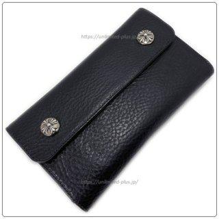 クロムハーツ 財布(Chrome Hearts)ウェーブ ウォレット クロスボタン ブラック ヘビー レザー【クロム・ハーツ】【クロムハーツ財布】【名古屋】