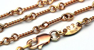 クロムハーツ(Chrome Hearts)ネックレス チェーン 22Kゴールド ツイスト 18インチ(約45cm) (ネックレス)【クロム・ハーツ】【クロムハーツ財布】【名古屋】
