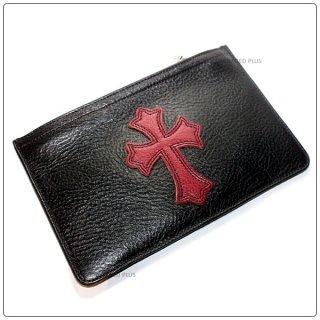 クロムハーツ 財布(Chrome Hearts)ウォレット ジッパーチェンジパース #2 ブラック ヘビー レッド レザー セメタリーパッチ (メンズ)(長財布)【クロム・ハーツ】【クロムハーツ財布】