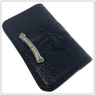 クロムハーツ 財布(Chrome Hearts)カードケース#2 GRMT/スクロール セメタリーレザーパッチ ブラックヘビーレザー ウォレット【海外限定仕様】【クロム・ハーツ】【クロムハーツ財布】