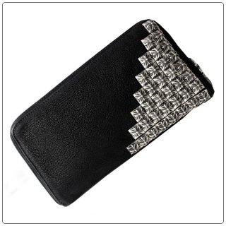 クロムハーツ 財布(Chrome Hearts)REC F ZIP#2 ピラミッドコーナー ボックス クロス ブラック デストロイ レザー ウォレット【クロム・ハーツ】