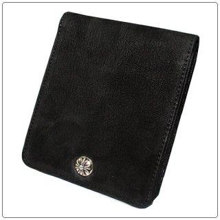クロムハーツ 財布(Chrome Hearts)ワンスナップ クロスボタン ブラック デストロイレザー【クロム・ハーツ】【クロムハーツ財布】【名古屋】