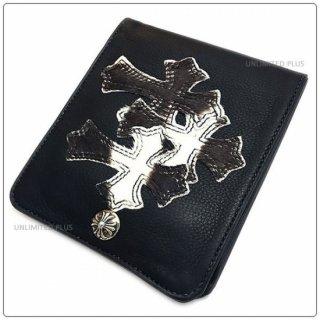 クロムハーツ 財布(Chrome Hearts)ワンスナップ クロスボタンブラック ミディアム レザー ウォレット 3セメタリーパッチーズ 【海外限定レザー】【クロム・ハーツ】【クロムハーツ財布】