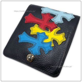クロムハーツ 財布(Chrome Hearts)ワンスナップ クロスボタンブラック ヘビー レザー ウォレット マルチカラー セメタリーパッチ 【クロム・ハーツ】【クロムハーツ財布】【名古屋】