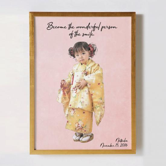 七五三の似顔絵オリジナルポスター 〜COLOR SKETCH〜 【記念やギフトに】