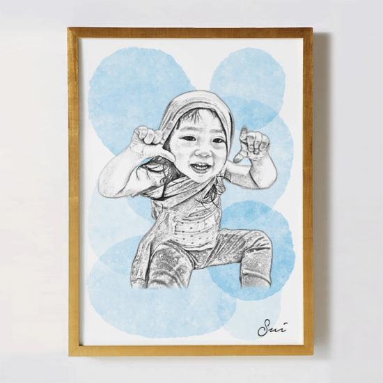 子供の似顔絵オリジナルポスター 〜SKETCH:ウォーターパレット〜