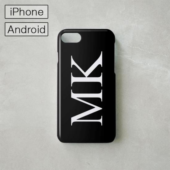 Myスマホケース -NAME・イニシャル- ブラック/iPhone・Android対応