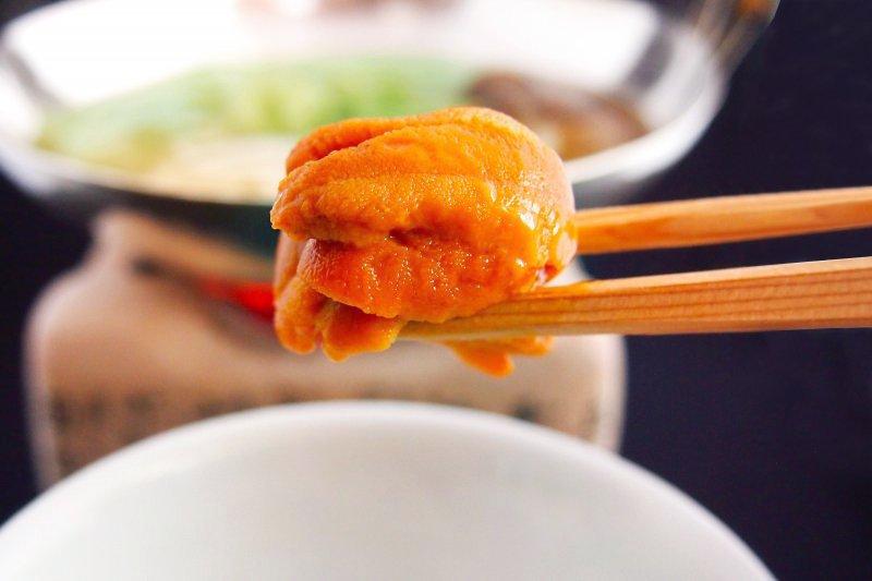 生雲丹と夏野菜の豚汐出汁しゃぶ