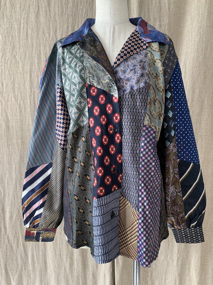 tie patchwork shirt-F