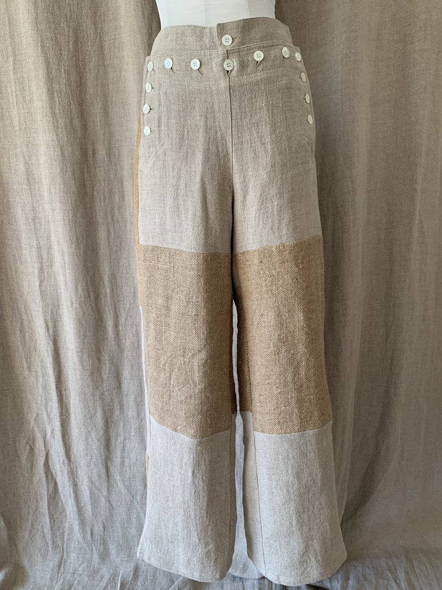 jute bag linen marin pants-A