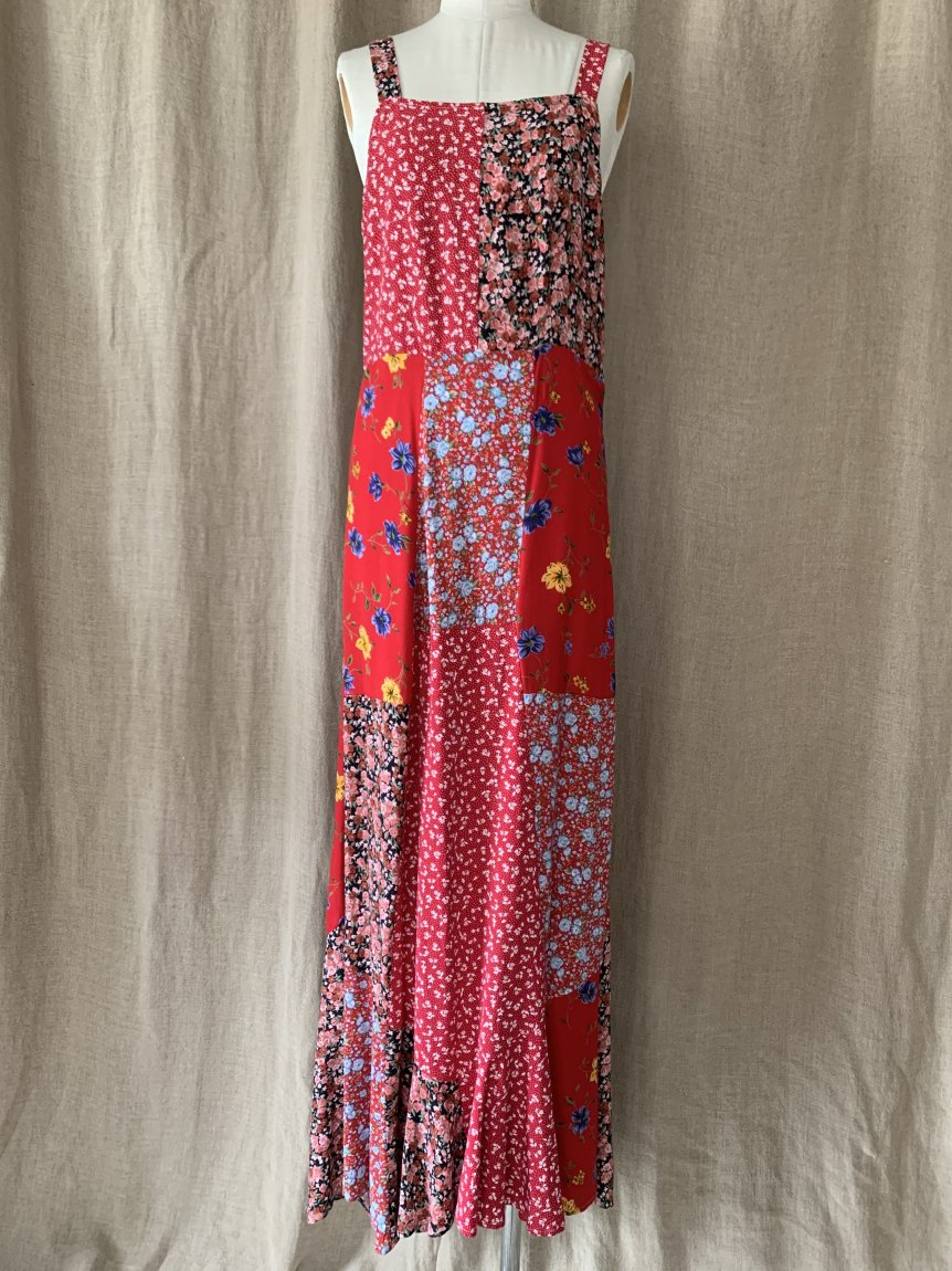 flower rayon mermaid dress-C