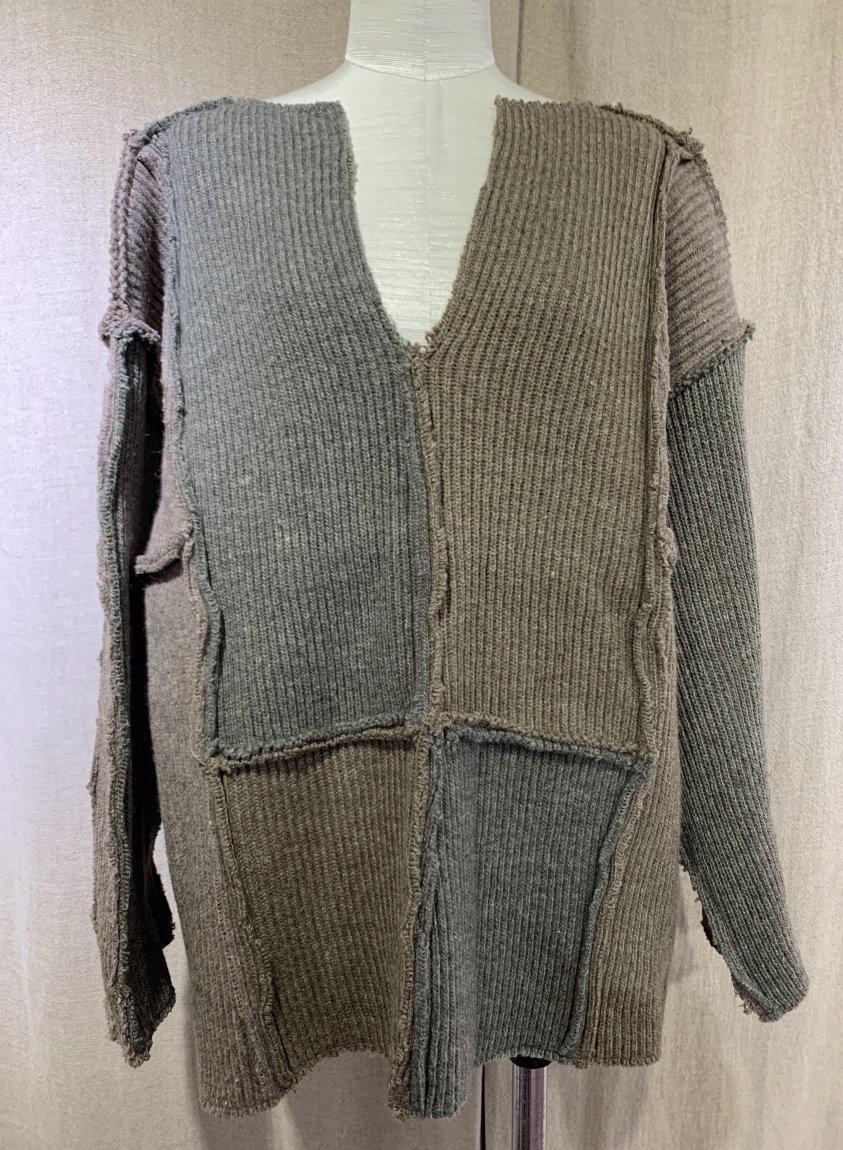 swedish rib patchwork knit-D