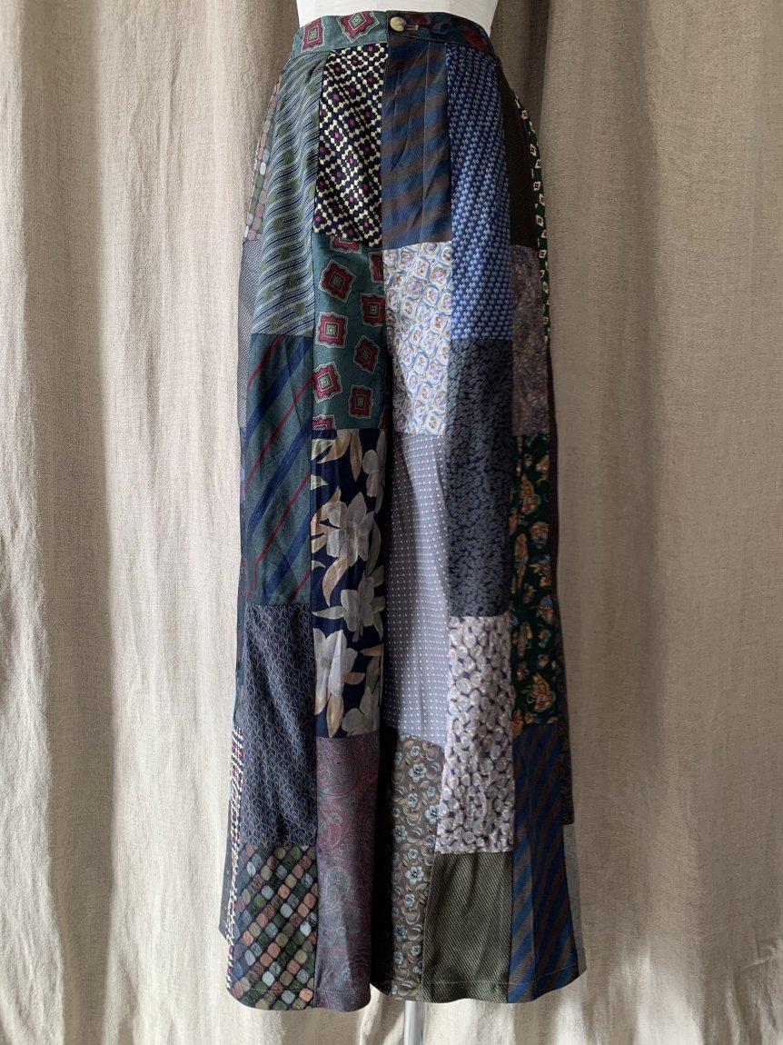 tie patchwork wide pants-A