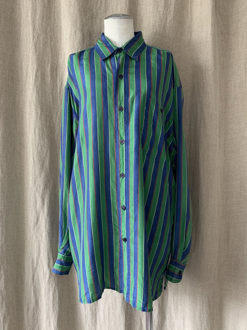 stripe silk shirt(vintage&used1)