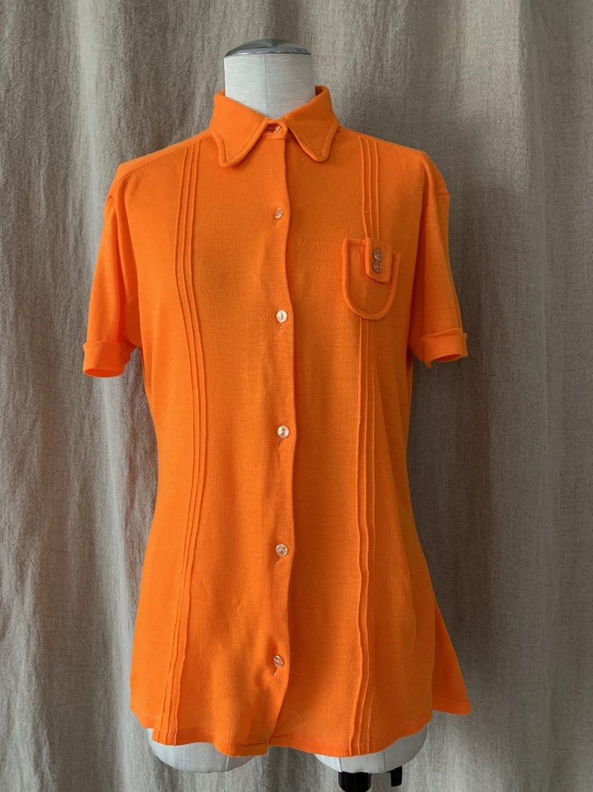 70's half sleeve shirt(vintage&usedB)